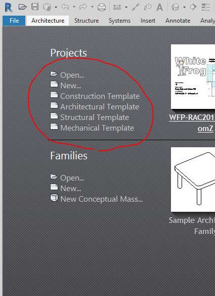 Customise Revit Home Screen Template List – Man and Machine