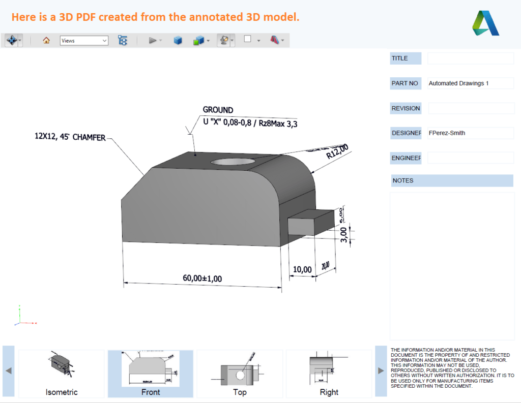 Annotated 3D PDF from Inventor
