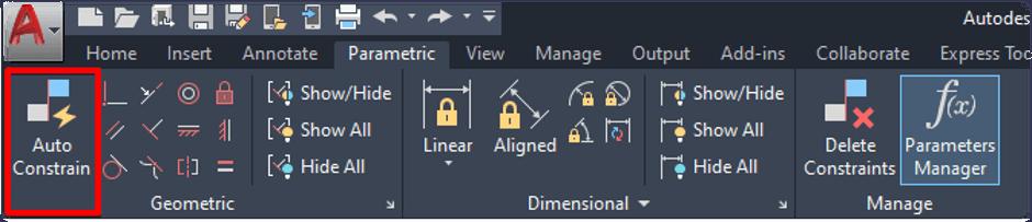 Parametric Auto Constrain Button