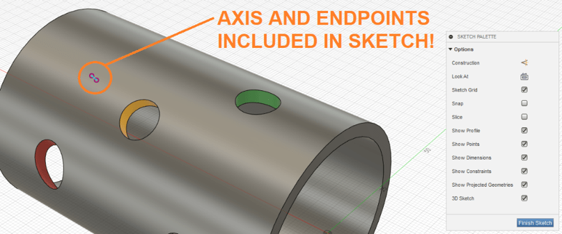 Axis and Endpoints on Sketch