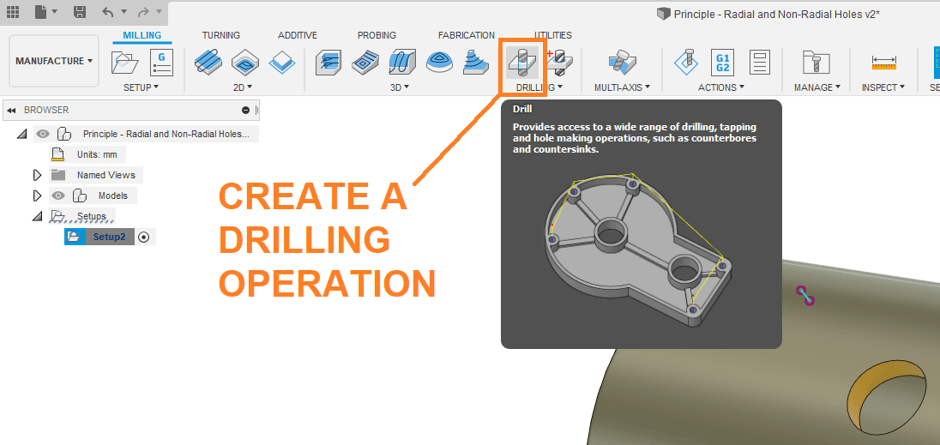 Create a drilling operation for cutting holes