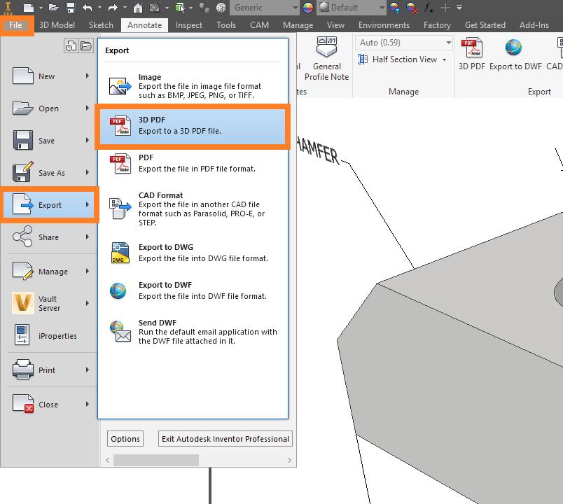 Inventor Export 3D PDF