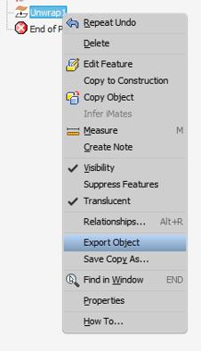 Inventor Unwrap Export Object Menu