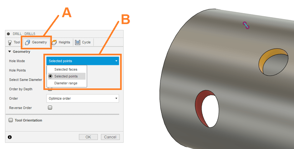 Selected Points for Cutting Holes