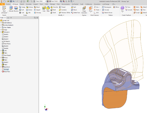 Inventor Unwrap Section