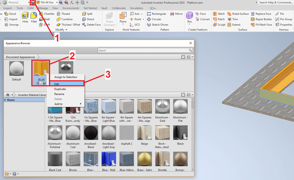 Modify Appearance in Inventor