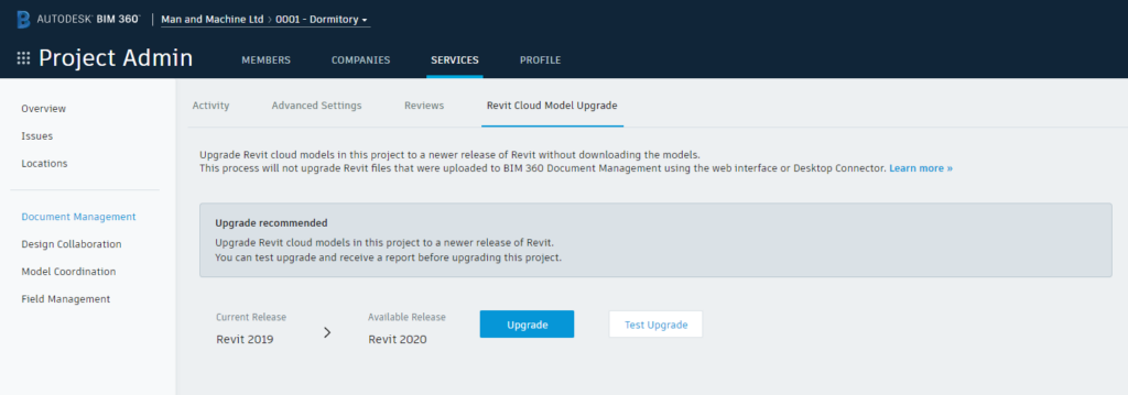 Showing where to find the option to upgrade a Revit project in BIM 360 Docs