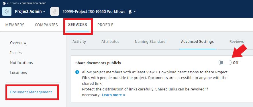 BIM 360 Docs Share documents publicly